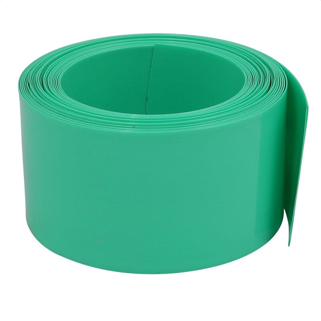 sourcing map 40mm larghezza piatta 5 m PVC lungo tubo termorestringente verde pallido doppio per batterie AA