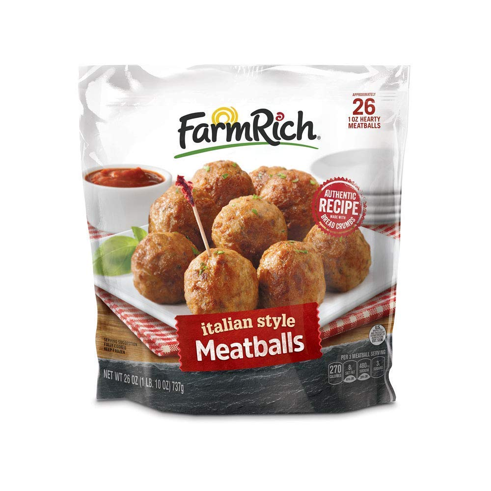 Farm Rich Italian Style Meatballs, Made with Beef, Pork and Authentic Bread Crumb Recipe, Fully Cooked, Frozen, 26 Ounces