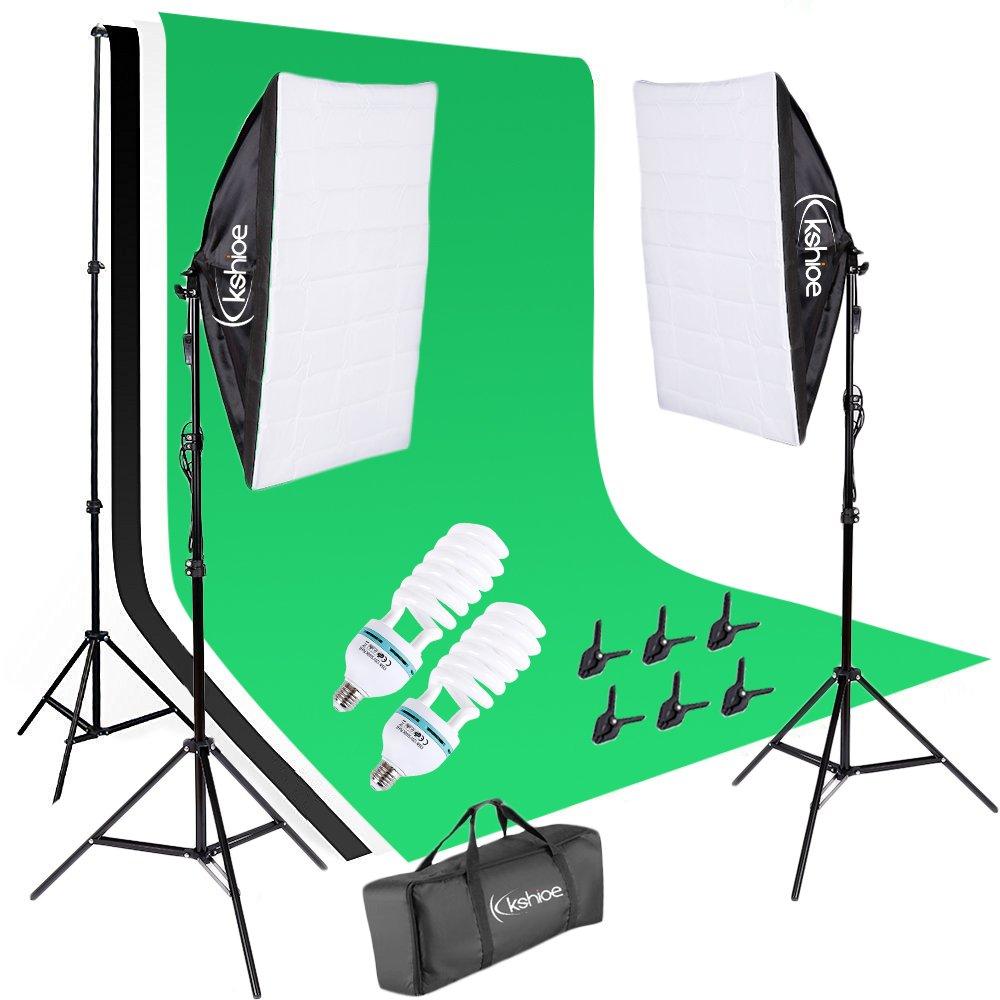 Kshioe Photo Video Studio Light Kit - Includes Studio Background Stand,Muslin Backdrops(Green Black White),Softbox,Lamp Holder And LED Bulbs,Clips