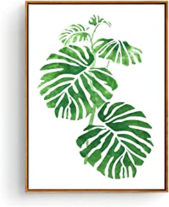 Tropical Plant Wall Art Canvas Wall Decor, Palm Leaves Wall Paintings for Dinning Room Bedroom Bathroom Modern Home Decor, Stretched and Wooden Framed with Kits, Ready to Hang 13 x 17 inch