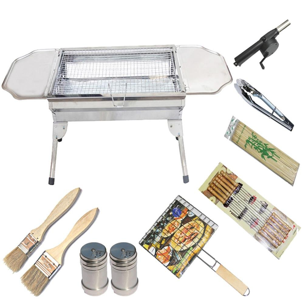 Grills Out Grills Barbecue Grill Portable Stainless Steel Pedestal Folding Legs a Camping Outdoor Grill BBQ Utensil Garden Charcoal Barbecue , 2