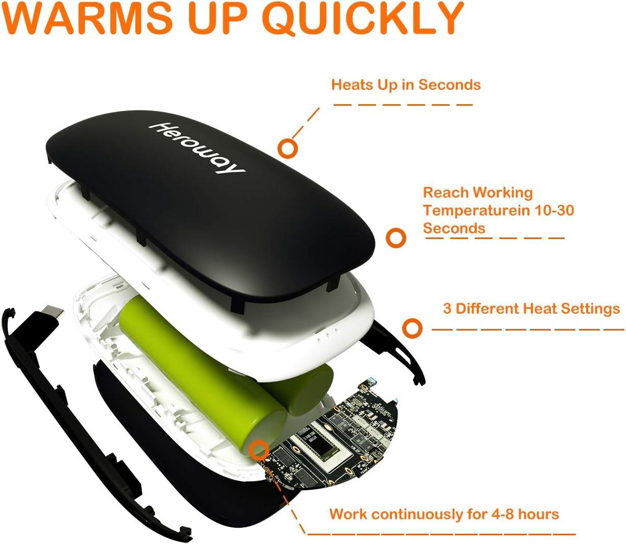 Calientamanos Recargables 5200mAh USB Banco de Energ/ía Calentadores Mano El/éctricos Calentador Bolsillo Calefactor de Manos Negro Grandes Regalos para Exterior Calienta Manos Reutilizables