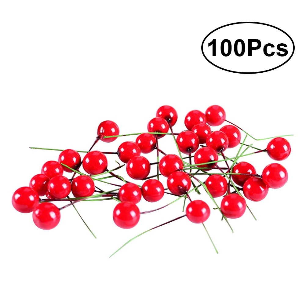 WINOMO 100pcs Red Fruit Berry Holly Artificial Flower Pick Christmas DIY Home Decor Ornament by WINOMO