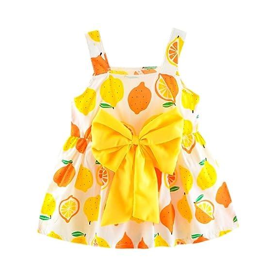 BBsmile Vestido de Niña Floral Bowknot Vestido de la honda Princesa Vestido Bautizo Bebé Niñas Vestidos de Sin Manga Primavera Verano Ropa para 0-24 meses: ...