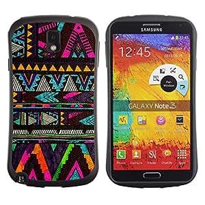Paccase / Suave TPU GEL Caso Carcasa de Protección Funda para - chevron native American pattern black - Samsung Note 3 N9000 N9002 N9005