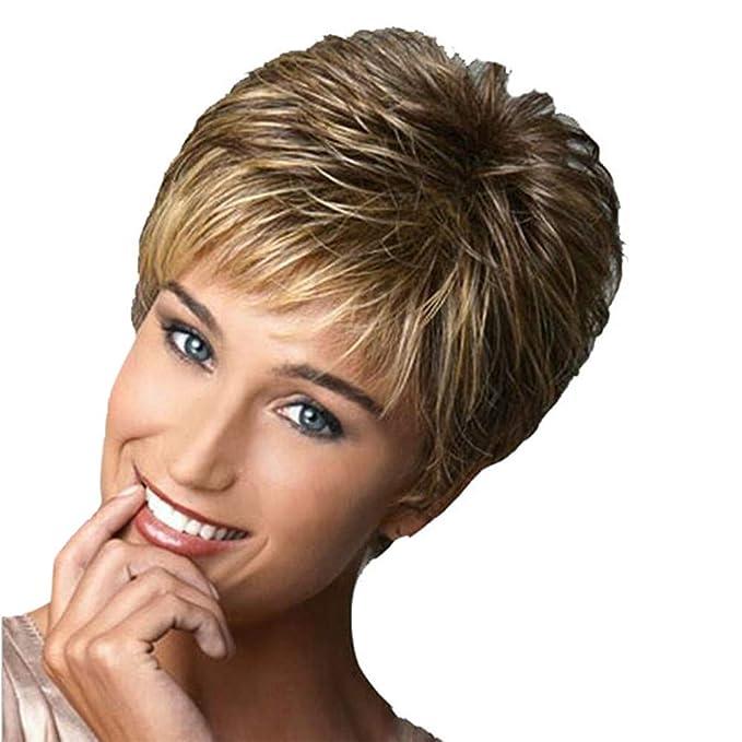 31b18e4890bc Honestyi Parrucca da Donna Corti Parrucche Capelli Veri Ricci Wigs Lisci  Resistente al Calore Fashion Comoda Parrucche per Festa Cosplay 26cm:  Amazon.it: ...