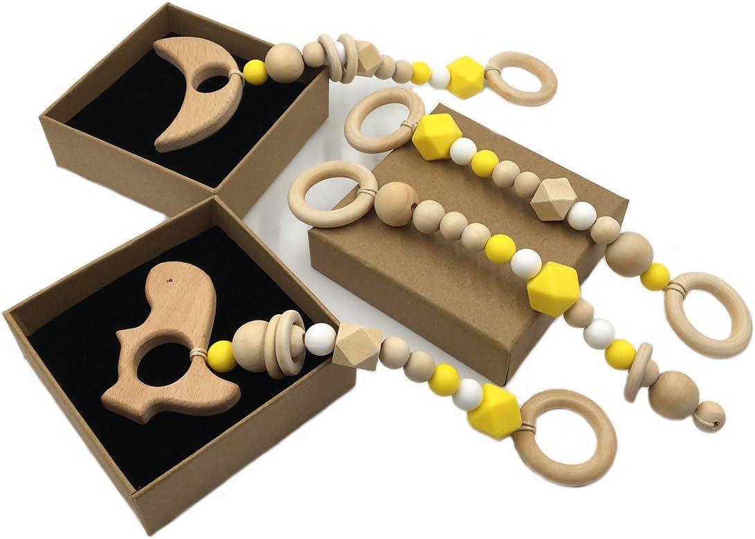 Jouet en bois Teether enfant en bas /âge 7pc Baby Play Gym Pram jouet Toddler BPA en bois gratuit dentition /érable perles Charms