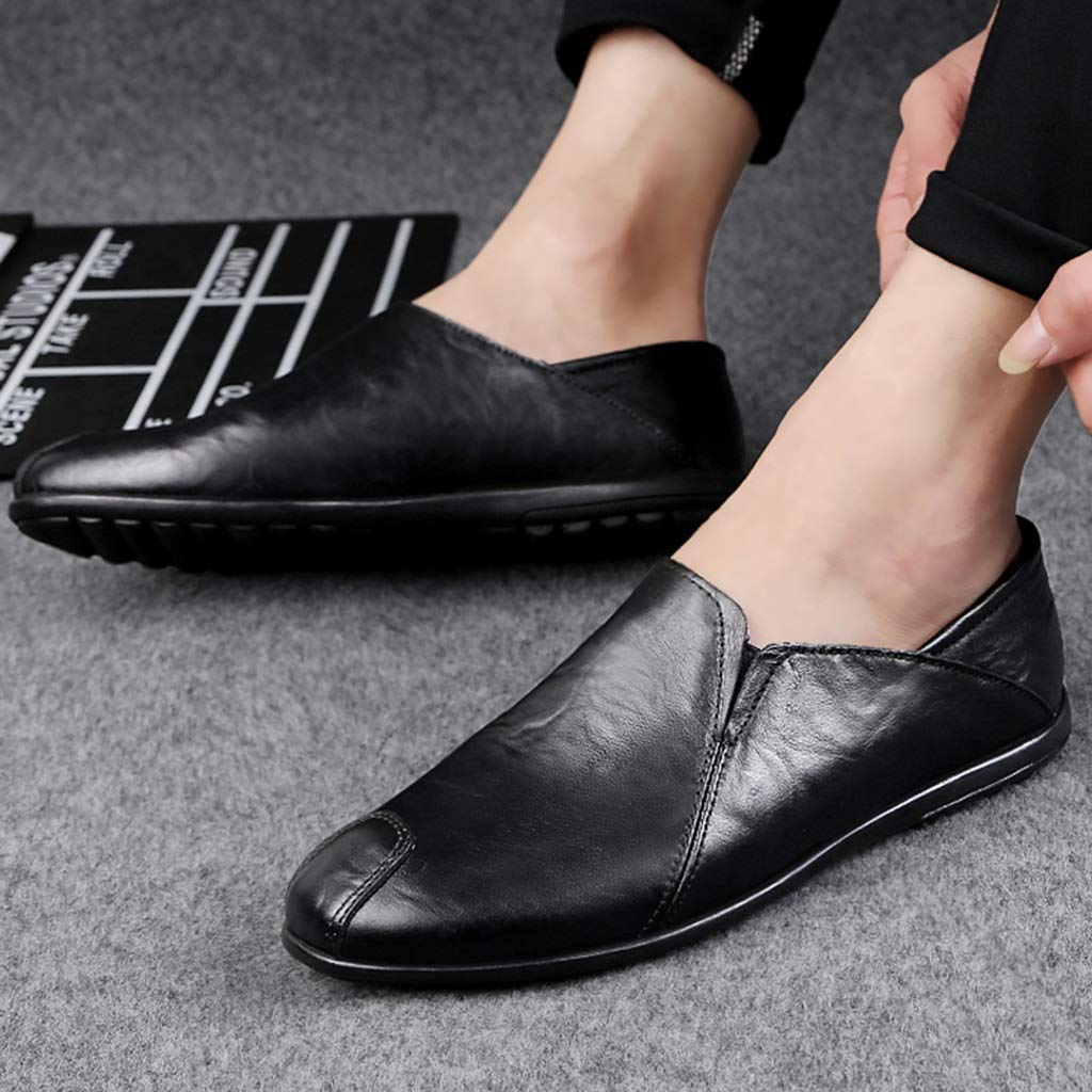 ChengxiO Sommer Erbsen Schuhe Herren Leder Flache Mode Trend Freizeitschuhe Herren Faule Schuhe Flache Leder Herrenschuhe Lederschuhe (Farbe   SCHWARZ, größe   43) 863c40