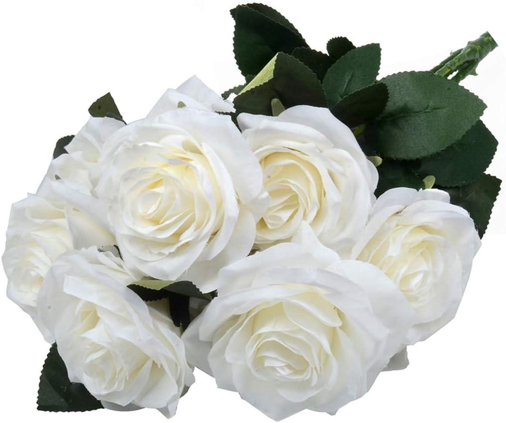 10 Heads Artificial Flowers Bouquet Silk Rose Wedding Garden Home Party Decor