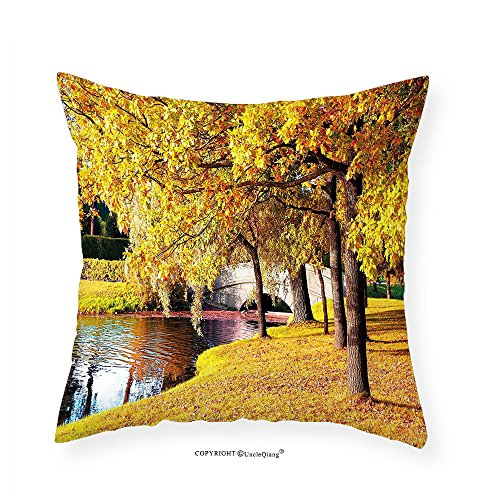 VROSELV Custom Cotton Linen Pillowcase Nature Beautiful Autumn Forest in City Park Saint Petersburg Russia Rural Scenic for Bedroom Living Room Dorm Yellow Brown Green 22