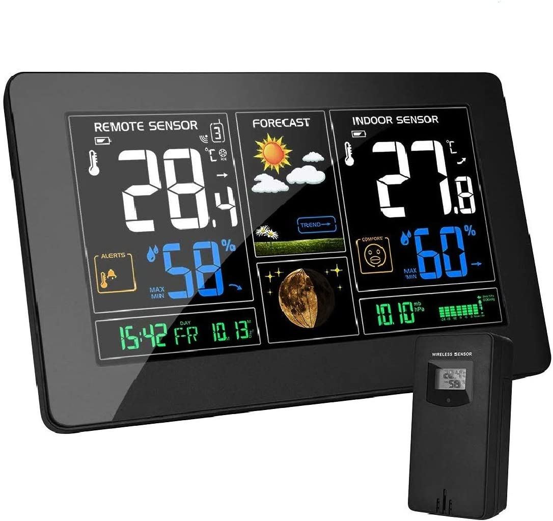 MOHOO Wireless Weather Station, Weather Stations Wireless Indoor Outdoor Multiple Sensors, Digital Temperature Humidity Monitor Room Hygrometer Weather Forecast Weather Thermometer