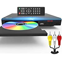 Tojock DVD Player for TV All Region Free DVD Player with AV Output and USB Input, Remote Control and AV Cable Included