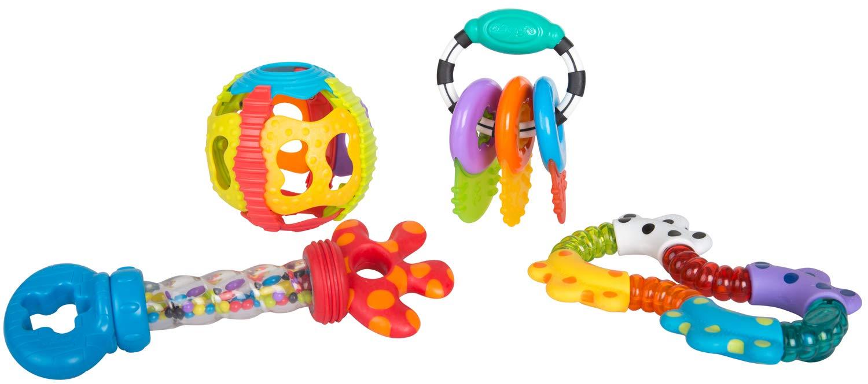 4 Piezas A partir de los 6 meses Multicolor 40197 Playgro Set de Juegos Educativos con Sonajeros y Mordedores