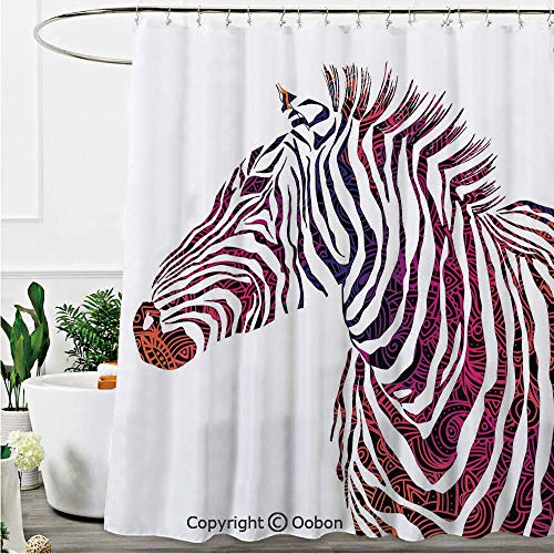 Oobon Shower Curtains, Ornamental Zebra Profile Silhouette Artistic Striped Safari Theme Artwork, Fabric Bathroom Decor Set with Hooks, 72 x 72 Inches
