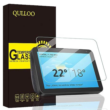QULLOO Protector Pantalla Echo Show 8 Vidrio Templado Clear ...