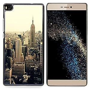 """For Huawei Ascend P8 (Not for P8 Lite) Case , Ciudad de Nueva York Sepia Vignette Amarillo"""" - Diseño Patrón Teléfono Caso Cubierta Case Bumper Duro Protección Case Cover Funda"""