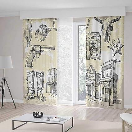 amazon com iprint western room decor curtains hand drawn wild west