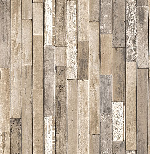 Brewster Wallcovering Co FD23274 Barn Board Brown Thin Plank Wallpaper,