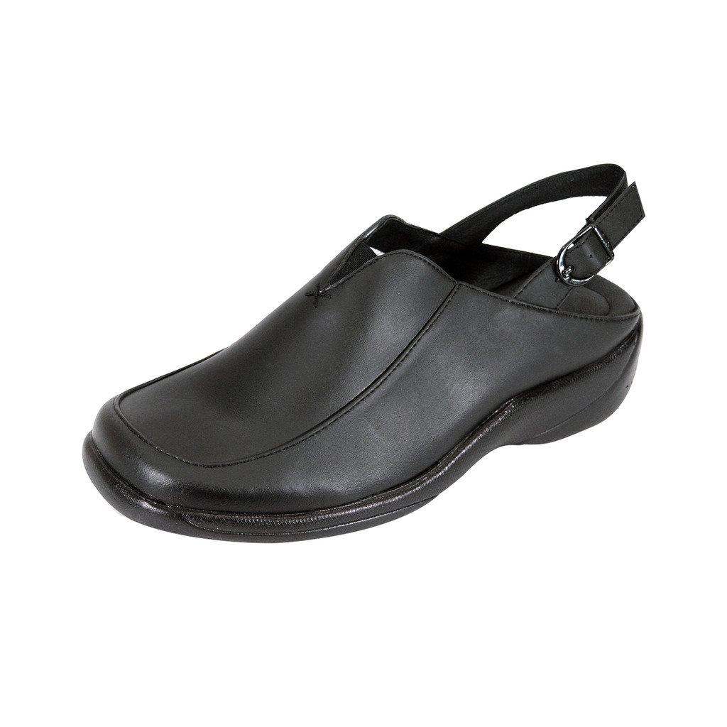 24 Hour Comfort  Ingrid (1047) Women Wide Width Leather Slingback Clogs Black 10