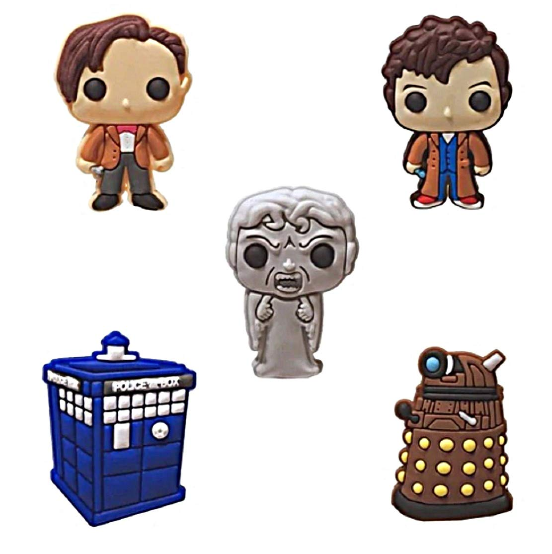 "Doctor Who Themed Set of 5 Fridge PVC 1"" Tall Magnets"