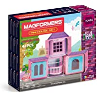 Magformers Mini House 42 Pieces Pink and Purple colors, Educational Magnetic Geometric shapes tiles Building STEM Toy…