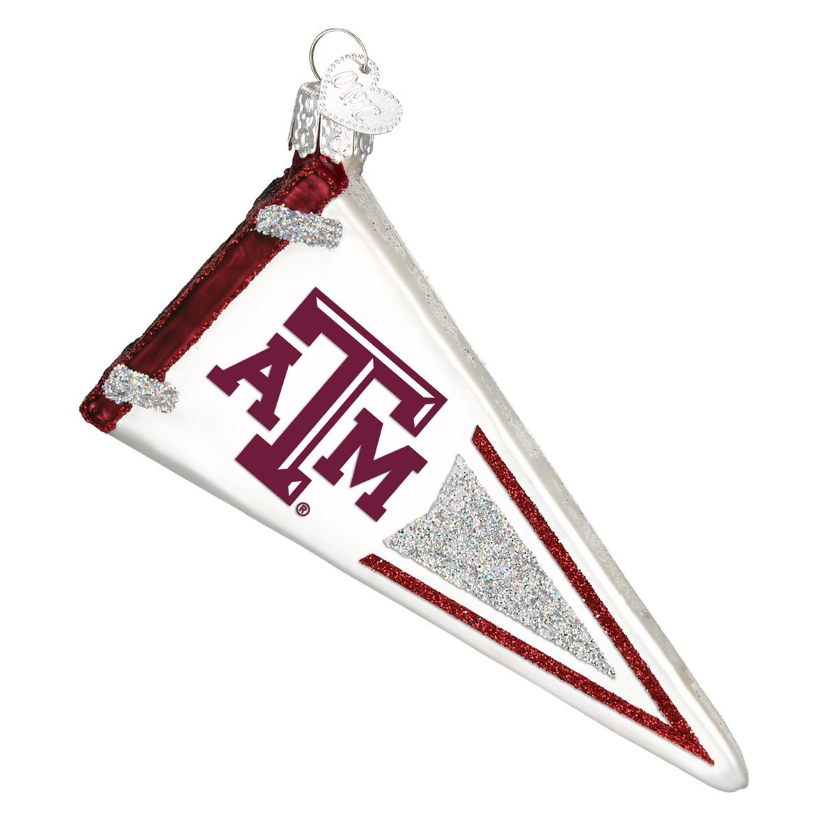 Texas A/&M Pennant Glass Blown Ornaments for Christmas Tree Old World Christmas Ornaments
