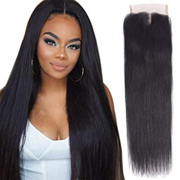 Middle Part Human Hair Lace Closure Malaysian