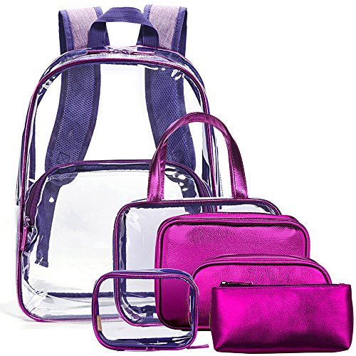 Match Fit Custom (NiceEbag 6 in 1 Clear Backpack with Cosmetic Bag Set Makeup Pouch Organizer,Clear Transparent PVC School Bookbag See Through Travel Casual Rucksack with Make up Case Luggage Toiletry Bags(Purple))
