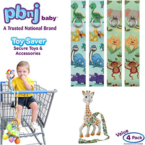 Best Review Of PBnJ baby Toy Saver Strap Holder Leash Secure Accessories Dinosaur/Jungle - 4pc