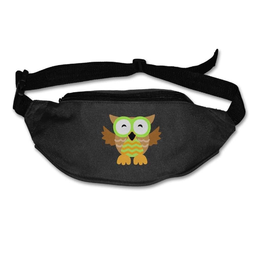 Unisex Pockets Cute Glasses Owl Fanny Pack Waist/Bum Bag Adjustable Belt Bags Running Cycling Fishing Sport Waist Bags Black