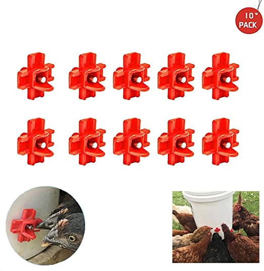 10 Pack Horizontal Chicken Nipples Waterer Automatic Poultry Drinker Red