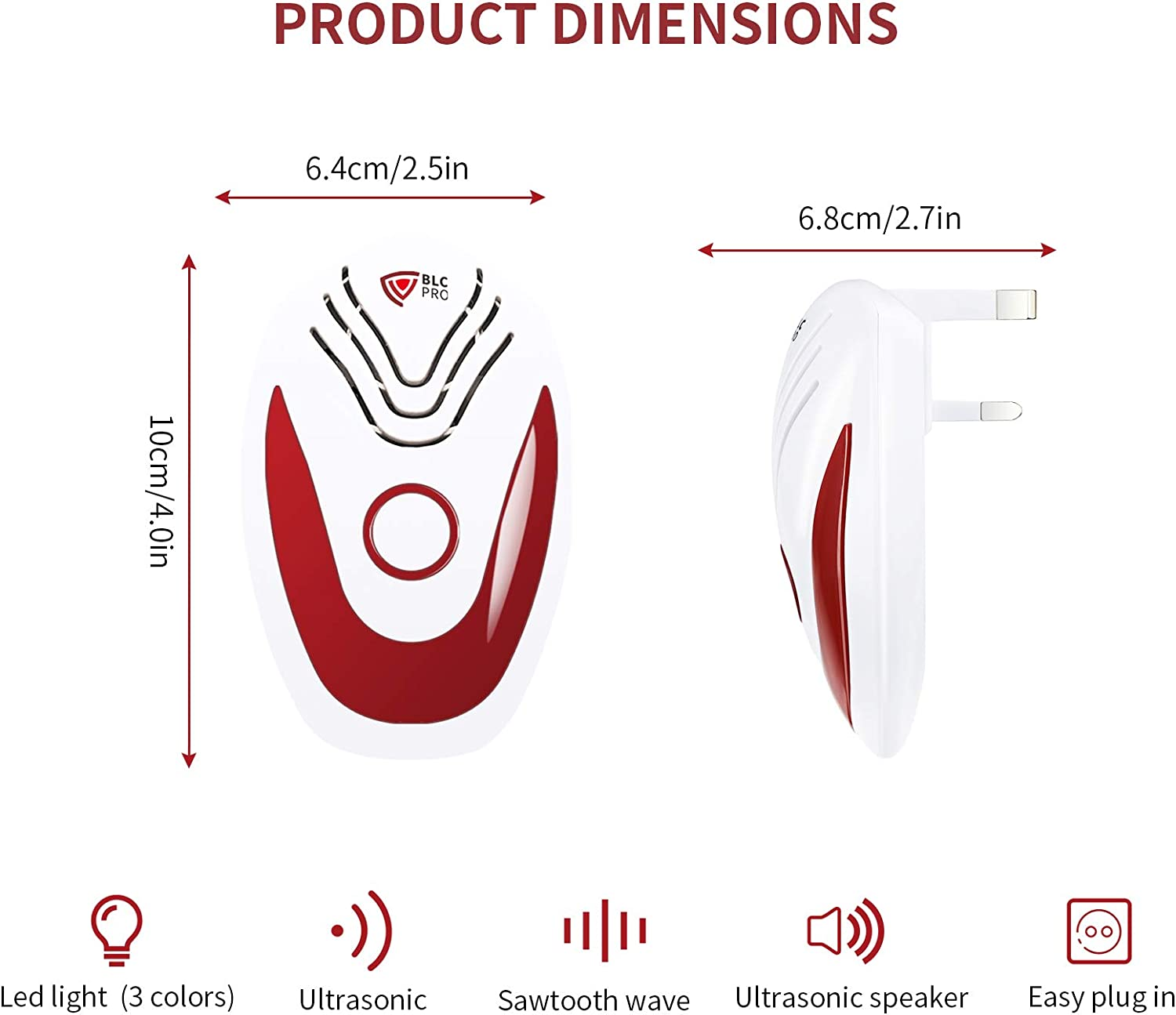 Electronic Plug-in Pest Control with 3 in 1 Intelligent Frequency Conversion Technology Cockroach Moth Mite BLCPRO Ultrasonic Pest Repeller Mosquito Efficiently Repelling Rat Bed Bug Mouse