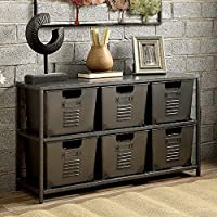 Furniture of America CM-AC523 Shreya Gunmetal Shelf Display