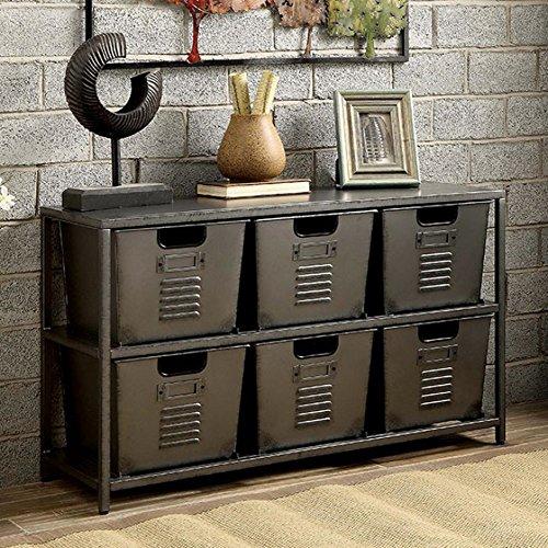 Furniture of America CM-AC523 Shreya Gunmetal Shelf Display by Furniture of America