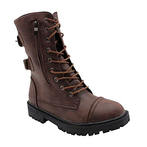 599690dd63db Daytwork Womens Ladies Combat Military - Martin Motorcycle Riding Belt  Buckle Lace-up Zipper Low Heel Mid-Calf Biker Boot Ankle Shoes  Amazon.co.uk   Shoes   ...