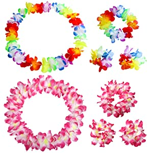 Hawaiian Leis Luau Tropical Headband Flower Crown Wreath Headpiece Wristbands Women Thicker Necklace Bracelets Hair Band For Summer Beach Vacation Pool Party Decorations Favors Supplies Set Rose