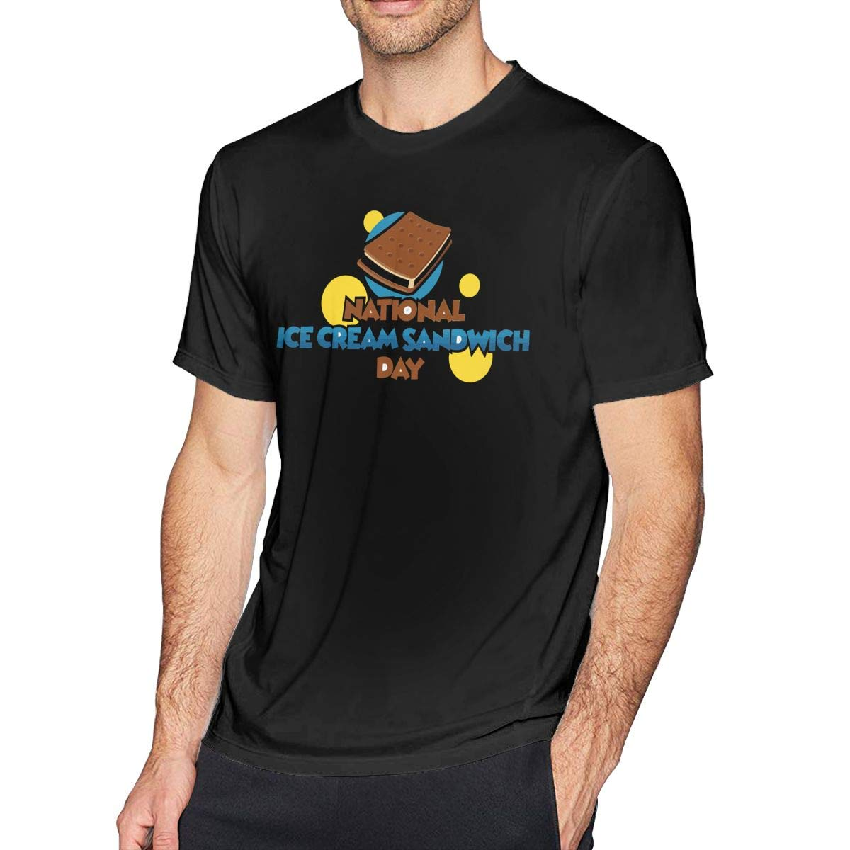 National Ice Cream Sandwich Day Black Shirt Organic Breathable Solid T Shirt