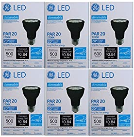 GE LED 7 Watt (70 Watt Equivalent) Indoor Floodlight Bulbs, PAR20 20 Degree Beam, Medium Screw (E26) Base, 500 Lumens, 22.8 Year Life, Black (6 Pack)