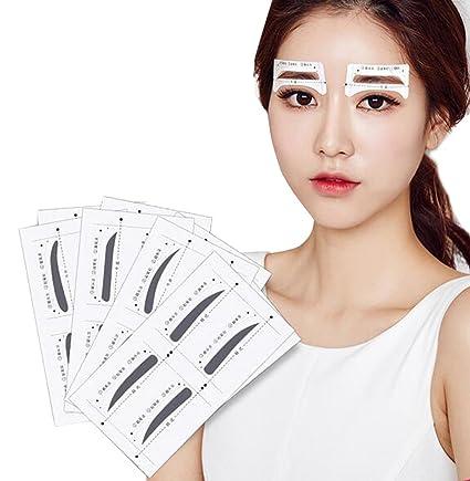 Kit de maquillaje con 32 pares de plantillas adhesivas para cejas para 4 tipos de cejas