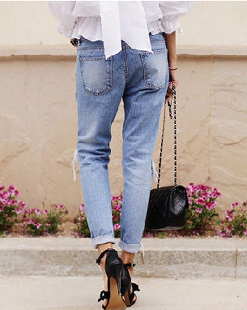 Donne Elastico Jeans Grandi del Ginocchio Strappati Femminili Pantaloni Slim Skinny