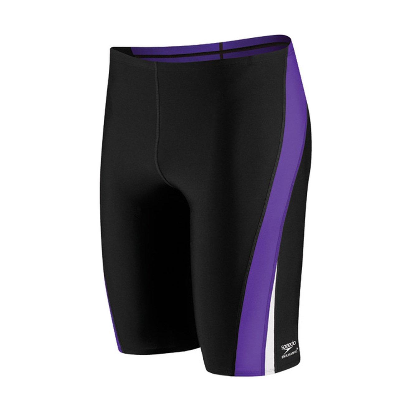 Speedo Men and Boys' Endurance+ Launch Splice Jammer Swimsuit, Black/Purple, 22