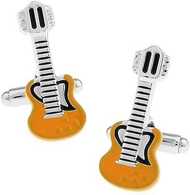 Aeici Gemelos para Camisa Hombre Gemelos de Boda Guitarra Gemelos Plata Amarillo: Amazon.es: Joyería