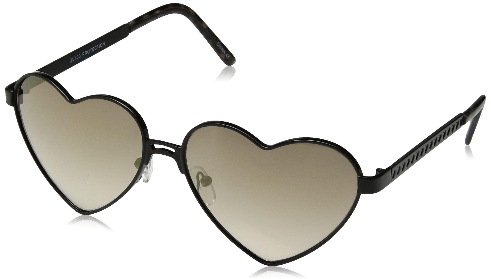 zeroUV Women's Cute Fashion Wire Metal Inset Lens Love Lolita Heart Shaped Aviator Sunglasses, Black/Gold Mirror, 55 mm