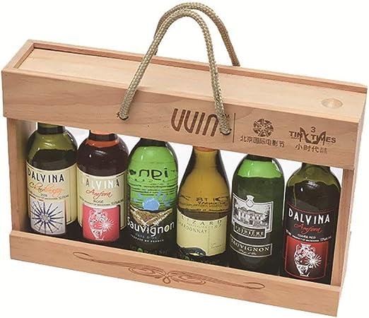 FPigSHS Armarios para Vino Caja de Vino de Madera Maciza de 6 Botellas Estante de Vino Multifuncional Envasado de Vino Tinto con Tapa de extracción y extracción, Los 33 * 7.5 * 21cm: Amazon.es: Hogar