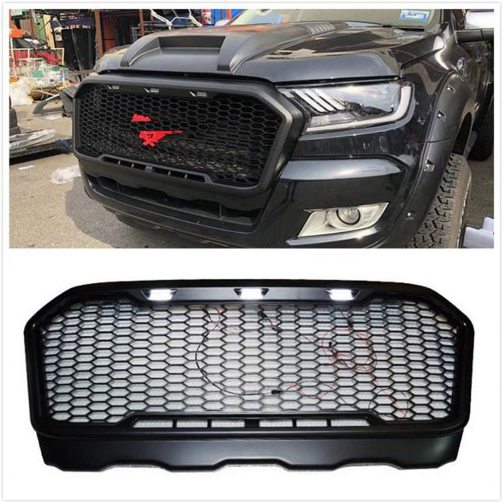 AniFM Front Racing Grille Raptor Rrills Rront Bumper Mask for RANGER T7 2015-2018 PICKUP PARTS GRILL ACCESSORIES Modified Accessories,Redhorse