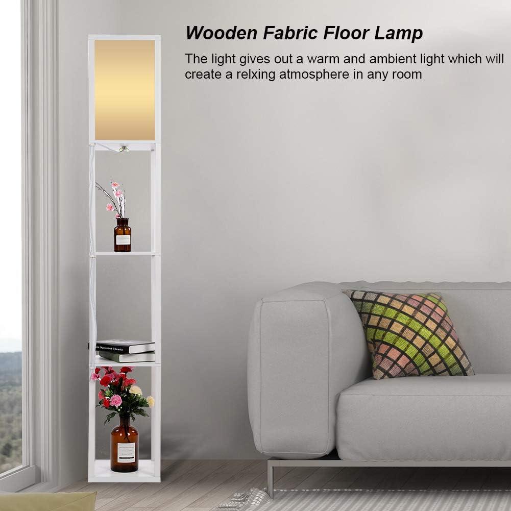 Stehleuchte mit Regal, zur Innenbeleuchtung, 3Ebenen, 1,6m, Holz, modernes und kreatives Design, für Schlafzimmer und Wohnzimmer Weiß