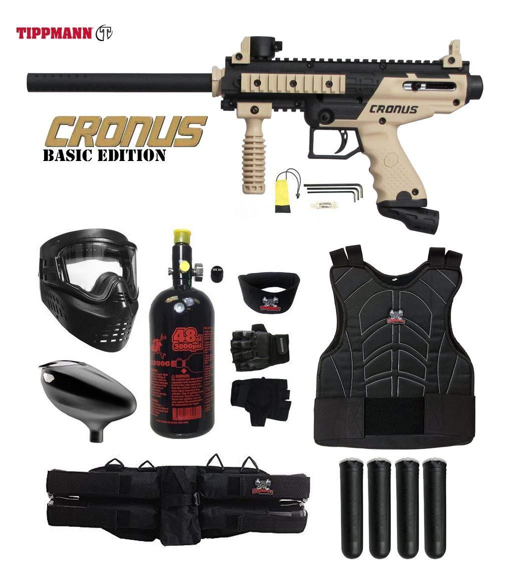 Maddog Tippmann Cronus Starter Protective HPA Paintball Gun Package - Black/Tan by Maddog