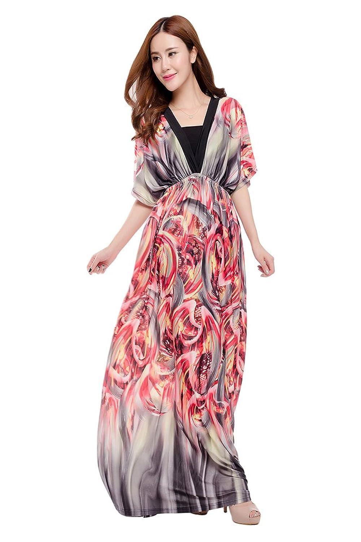 MissFox Damen Maxi Kleid Kurzarm V-Ausschnitt Elegantes Langes ...
