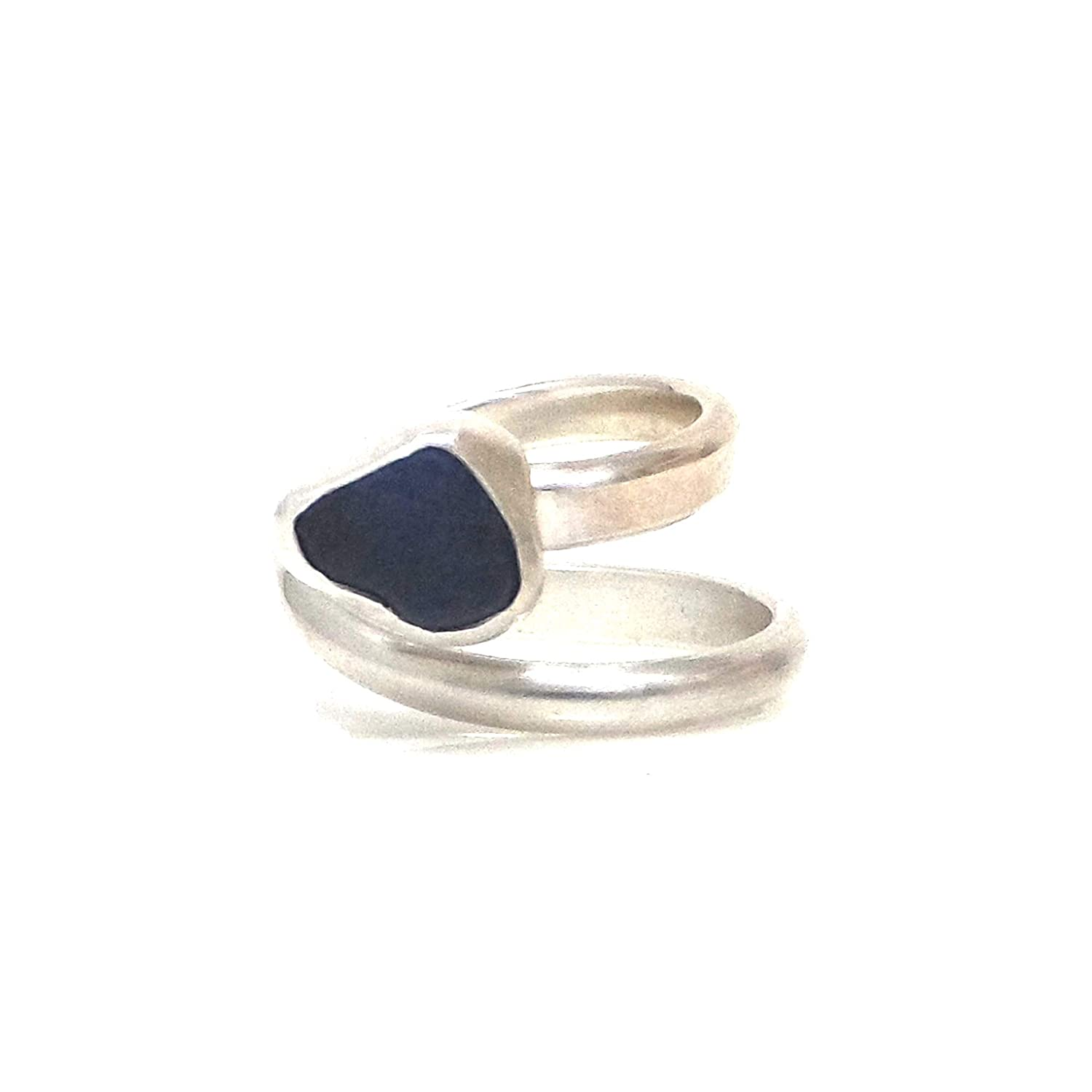 Gift Boxed Cornish Blue Sea Glass Ring Handmade in Cornwall Silver Bezel Adjustable Ring