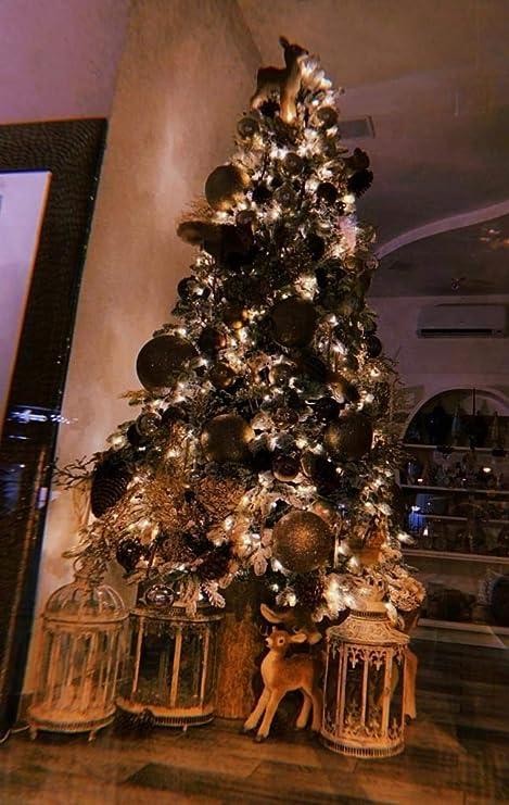 Decorazioni Natalizie Edg Natale 2020.Edg Pino Innevato Con Base In Tronco H 240cm Con 700 Led Amazon It Casa E Cucina